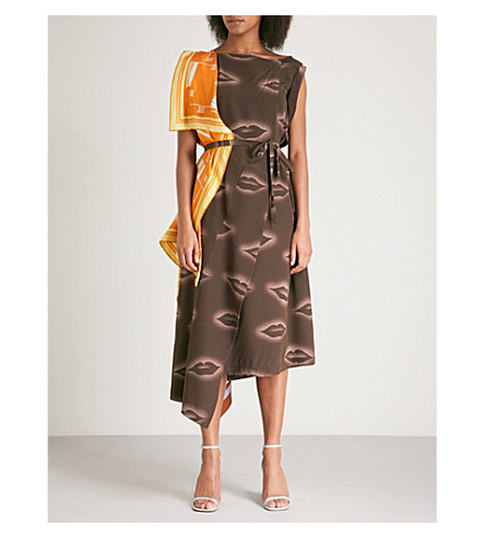 DRIES VAN NOTEN Scarf-detail silk dress (Brown