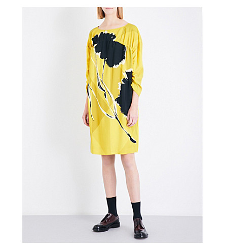 DRIES VAN NOTEN Boat-neck floral-print crepe dress (Yellow