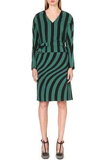 DRIES VAN NOTEN Striped-detail long-sleeved dress