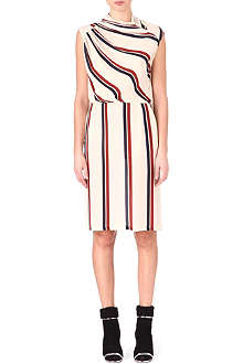 DRIES VAN NOTEN Gathered silk stripe dress