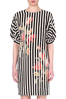DRIES VAN NOTEN Striped silk dress