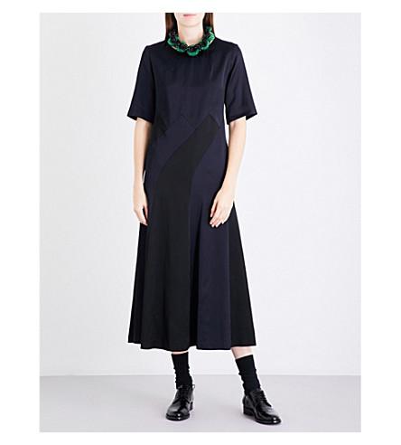 DRIES VAN NOTEN Dirico fit-and-flare satin dress (Navy