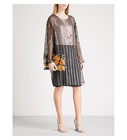 DRIES VAN NOTEN Dither embroidered silk dress (Black