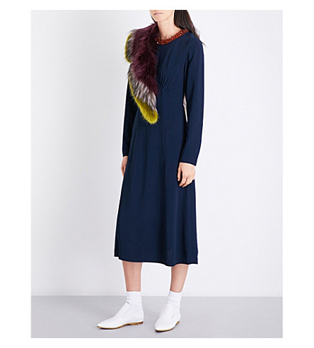 DRIES VAN NOTEN Dleyrae bead-embellished crepe midi dress (Navy