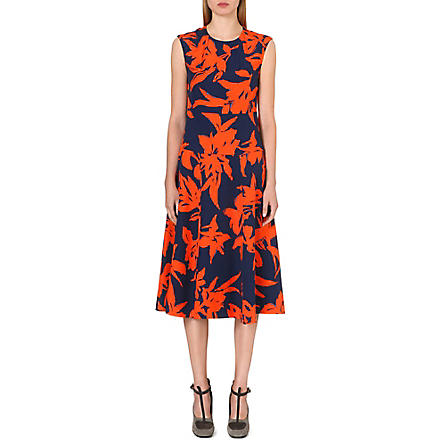 DRIES VAN NOTEN Donavon floral-print silk dress (Orange