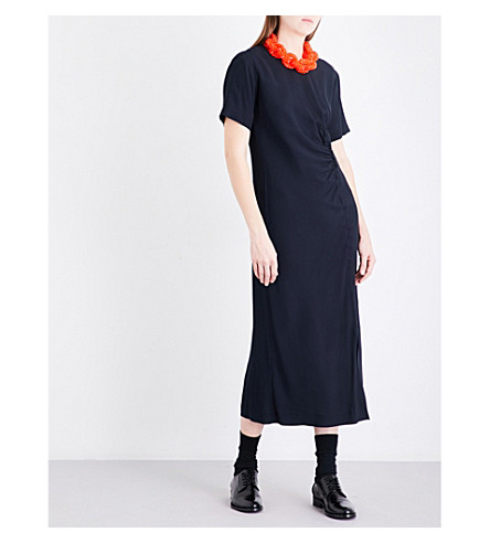 DRIES VAN NOTEN Donen gathered crepe dress (Navy
