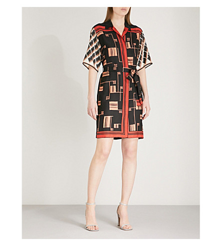 DRIES VAN NOTEN Dopos scarf-print silk shirt-dress (Black