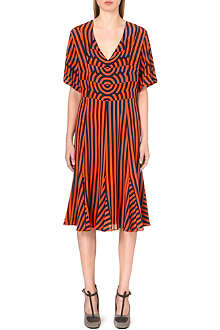 DRIES VAN NOTEN Striped-print silk dress