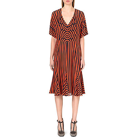 DRIES VAN NOTEN Striped-print silk dress (Orange