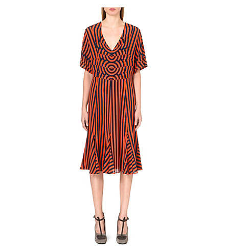 DRIES VAN NOTEN Striped-print silk dress (Orange