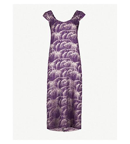 DRIES VAN NOTEN Draft silk-blend dress (Purple