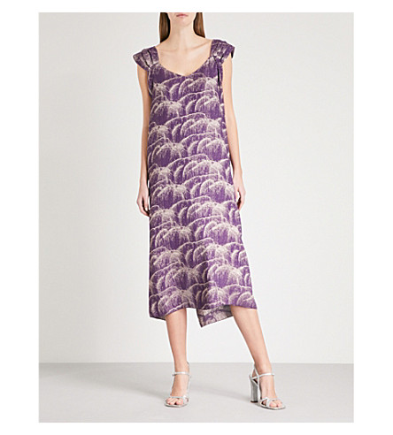 DRIES VAN NOTEN Draft silk-blend dress (Purple