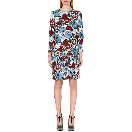 DRIES VAN NOTEN Drake floral-print crepe dress (Blue