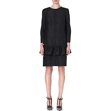 DRIES VAN NOTEN Drake ruffled-waist jacquard dress (Black