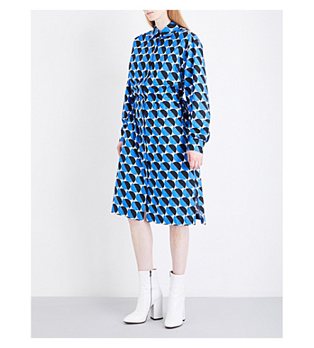 DRIES VAN NOTEN Dualy cotton-twill shirt dress (Blue