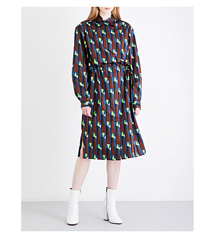 DRIES VAN NOTEN Dualy cotton-satin shirt dress (Petrol