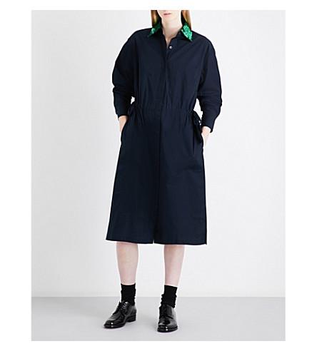 DRIES VAN NOTEN Dualy cotton-poplin shirt dress (Midnight/green