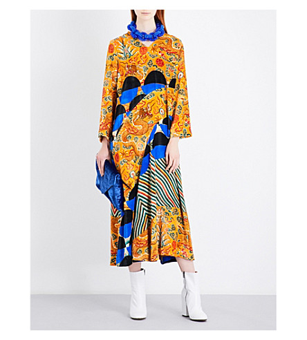 DRIES VAN NOTEN Dubran chinoiserie and geometric-patterned velvet dress (Des+a