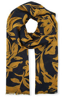 DRIES VAN NOTEN Floral-print cashmere and silk-blend pashmina