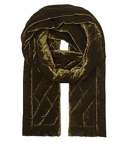 DRIES VAN NOTEN Quilted velvet silk scarf (Brown