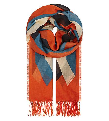 DRIES VAN NOTEN Multi-tonal silk and modal-blend scarf (Red