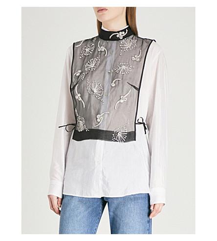 DRIES VAN NOTEN George embellished silk-organza bib top (Black