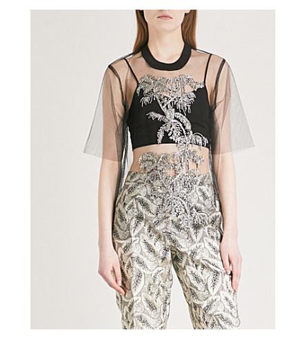 DRIES VAN NOTEN Habbe sequin-embellished mesh top (Black