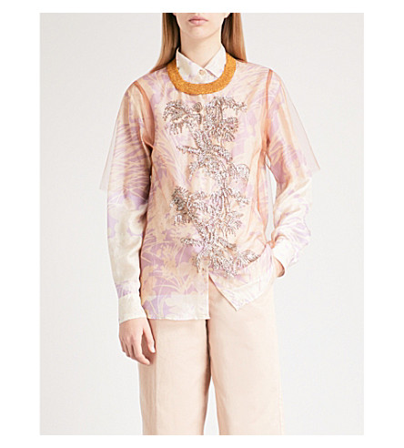 DRIES VAN NOTEN Sequin-embellished mesh top (Camel