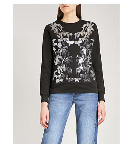 DRIES VAN NOTEN Hadey sequin-embellished cotton-jersey sweatshirt (Black