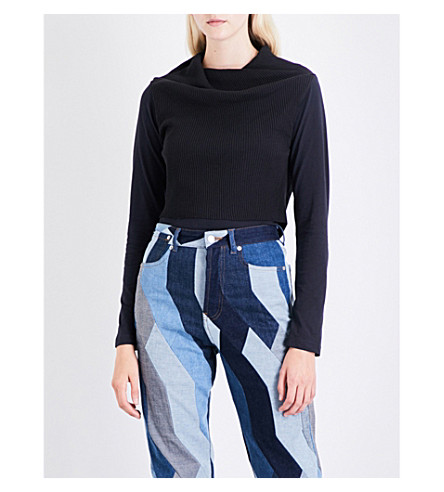DRIES VAN NOTEN Halko cotton and cashmere-blend top (Navy