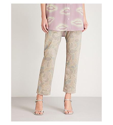 DRIES VAN NOTEN Halmira floral-print cropped metallic trousers (Hay