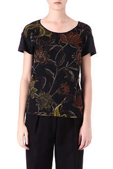 DRIES VAN NOTEN Floral-print silk t-shirt