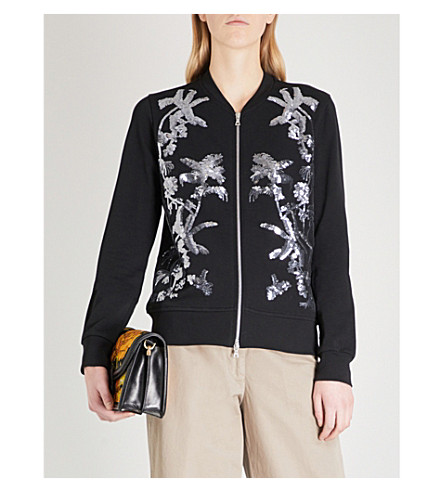DRIES VAN NOTEN Hassold cotton-jersey bomber jacket (Black