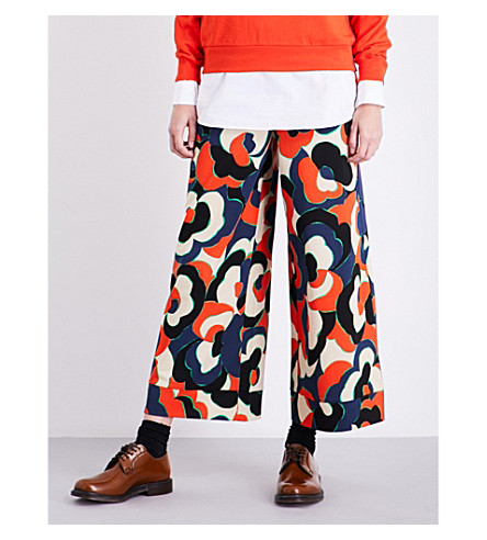 DRIES VAN NOTEN Hasson wide-leg cotton trousers (Red