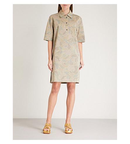 DRIES VAN NOTEN Hedie floral-print metallic dress (Hay