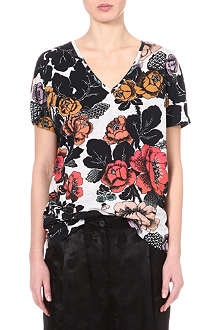 DRIES VAN NOTEN Floral v-neck top