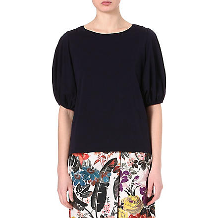 DRIES VAN NOTEN Balloon-sleeve top (Navy