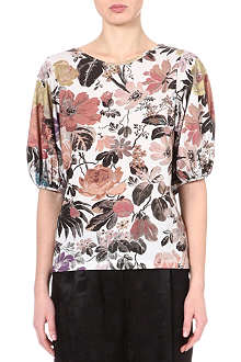 DRIES VAN NOTEN Floral balloon-sleeve top