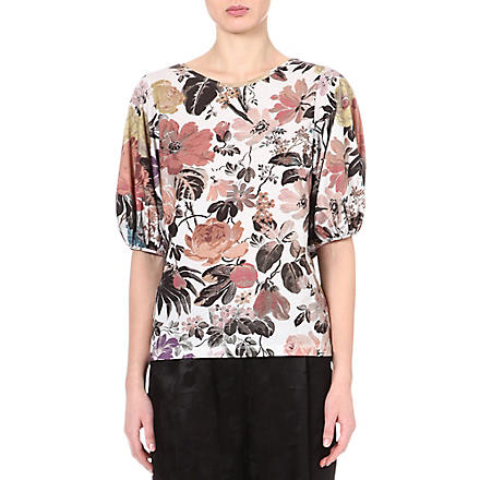 DRIES VAN NOTEN Floral balloon-sleeve top (Natural