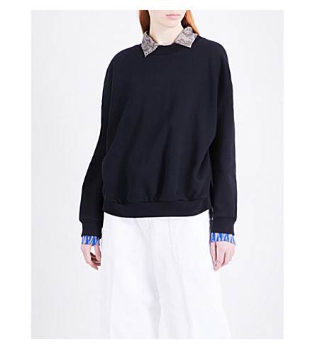 DRIES VAN NOTEN Hiyama cotton-jersey and satin sweatshirt (Navy