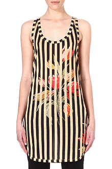DRIES VAN NOTEN Flower and stripe vest top