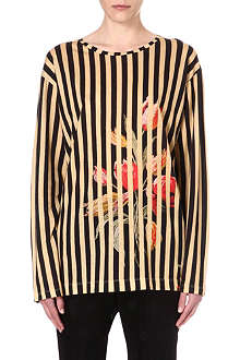 DRIES VAN NOTEN Floral and stripe long-sleeve t-shirt
