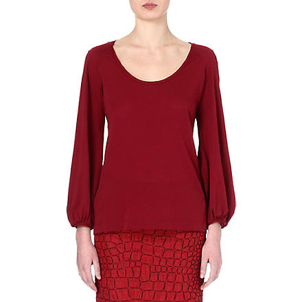 DRIES VAN NOTEN Puff-sleeve top (Bordeux