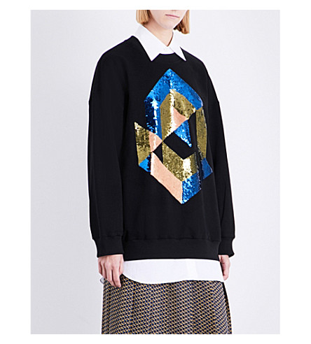 DRIES VAN NOTEN Horacio sequin-embellished cotton-jersey sweatshirt (Black