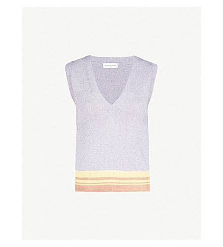 DRIES VAN NOTEN Jamilla metallic knitted vest (Lilac