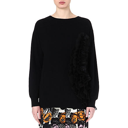 DRIES VAN NOTEN Jamy frilled cashmere-blend jumper (Navy