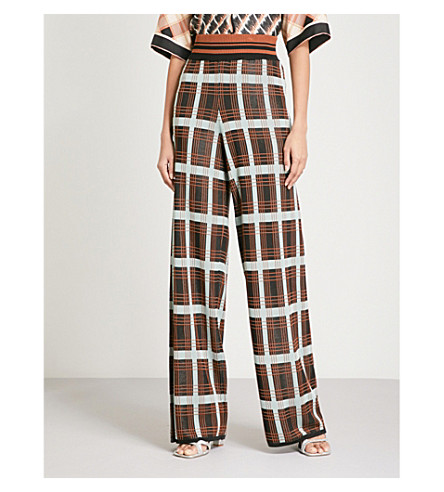 DRIES VAN NOTEN Jaunt checked wide-leg knitted trousers (Black