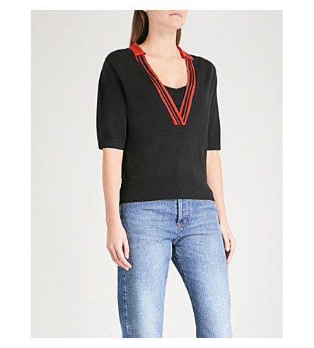 DRIES VAN NOTEN Jelka V-neck wool-blend top (Black