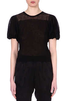 DRIES VAN NOTEN Knitted capped-sleeve top