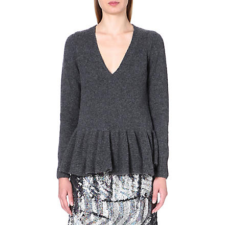 DRIES VAN NOTEN Mathill frilled-hem cashmere jumper (Anthra